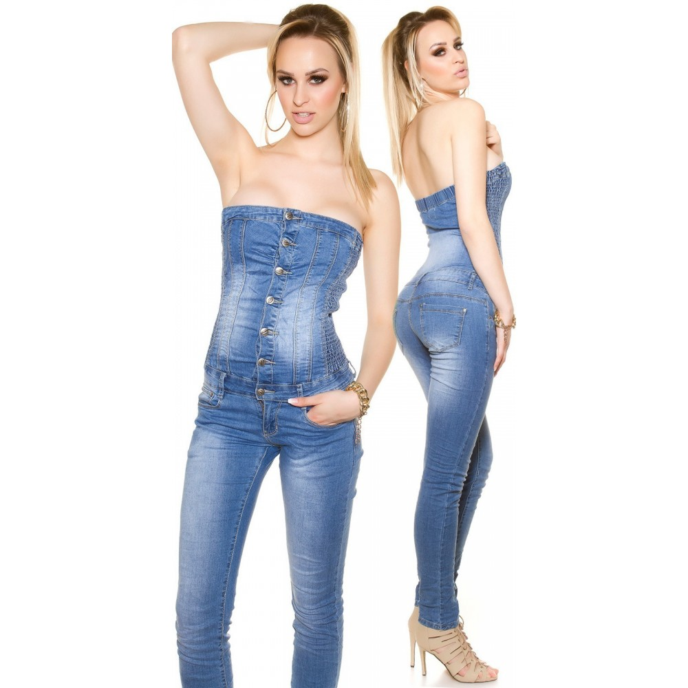 Vetement femme fashion Combinaison en jeans