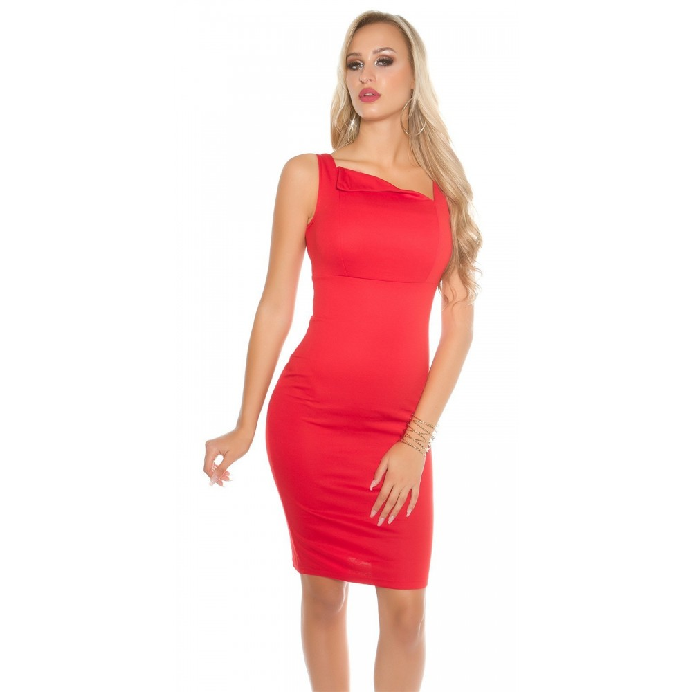 Vetement femme fashion robe rouge col tombant NICOLE