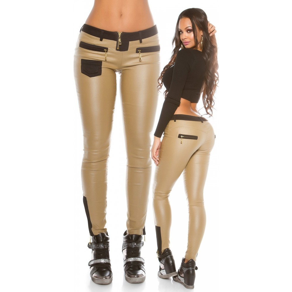 Vetement femme fashion pantalon simili beige SABINE