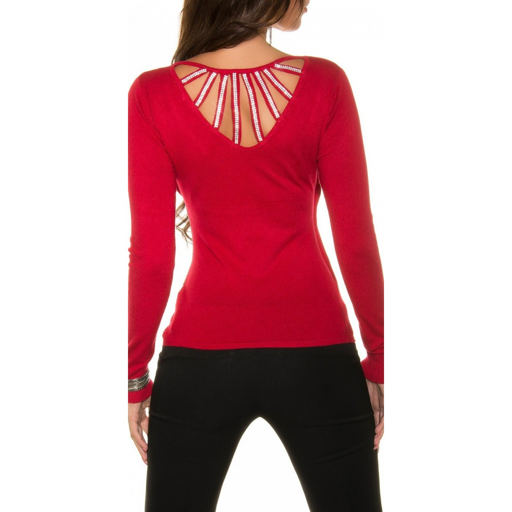 Vetement femme fashion pull rouge a strass LAURY